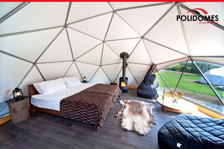 Interior of the Polidomes glamping