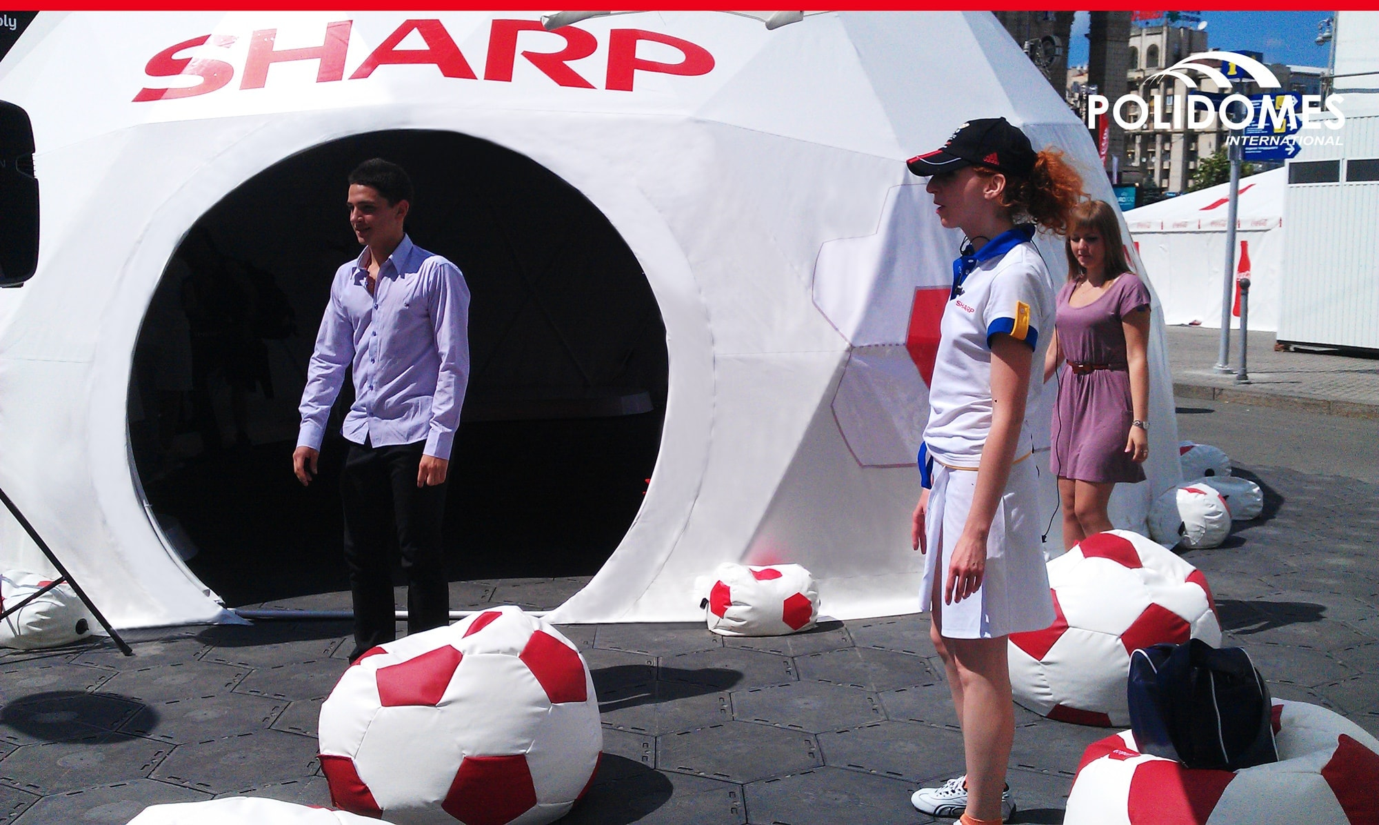 A geodesic sport dome made for Sharp - main Euro 2012 sponsor